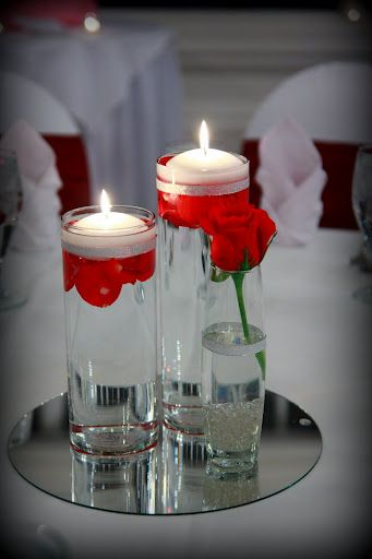 Rose petal and floating candle centerpiece candles