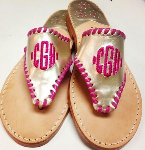 d6dc6e77ec498 Palm Beach Classic Monogrammed Sandal - Gold and pink!