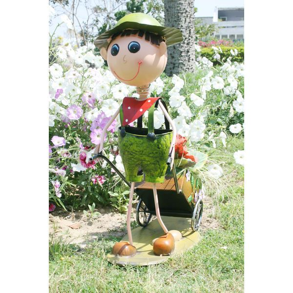 Buy Online Boy With Cart Garden Planters Pots Home Decor