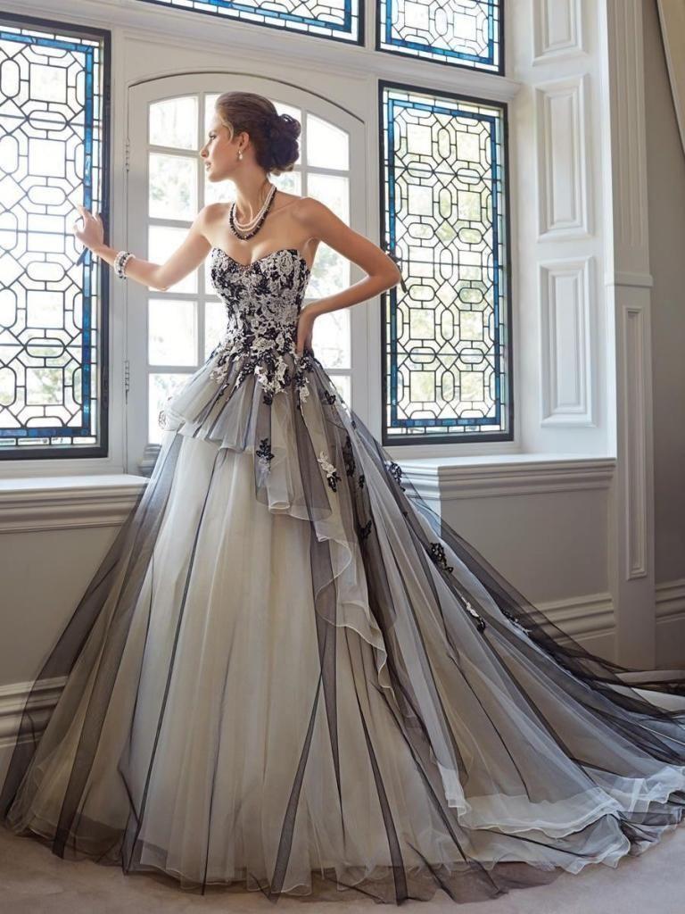 Details zu Ivory+Schwarz Lace-up Brautkleid Abendkleid ...