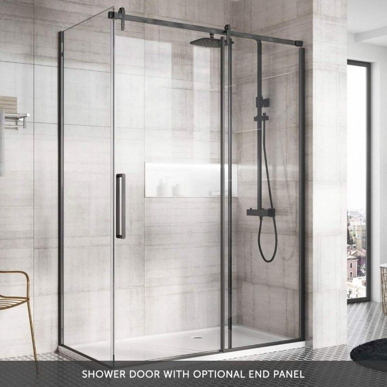 Harbour Icon Matt Black 8mm 2m Tall Easy Clean Sliding Shower Door Optional Side Panel Slidingshowerdoors Harbour Icon Matt Black 8mm 2m Ta Shower Enclosure Shower Doors Master Bathroom Shower