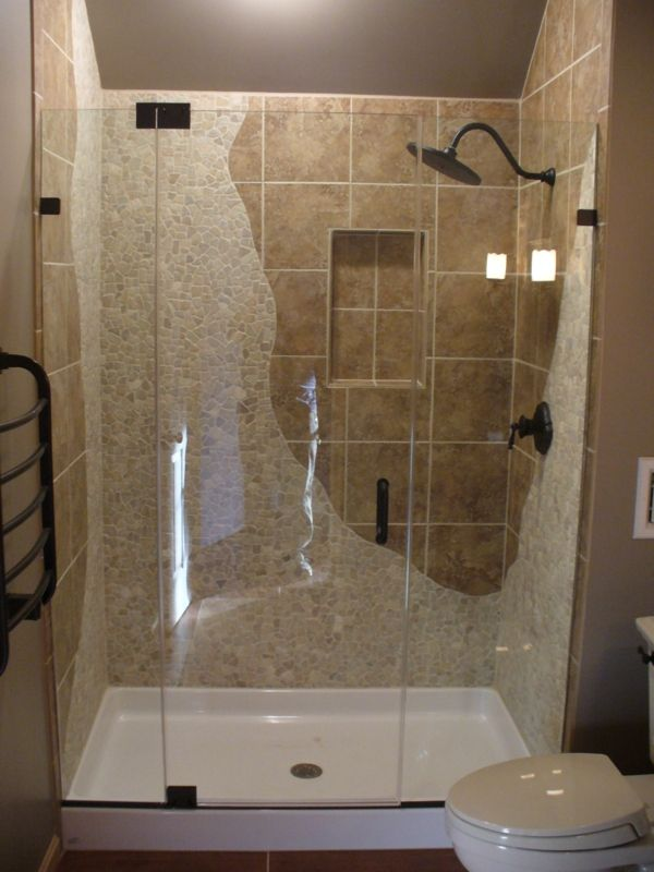 Frameless Shower With River Stone and Tile The way the river stone ...