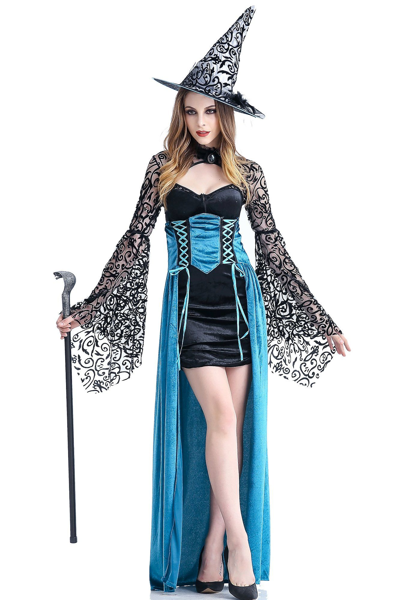 Zooma Women Sexy Blue Witch Costume Deluxe Gothic Dresses ...