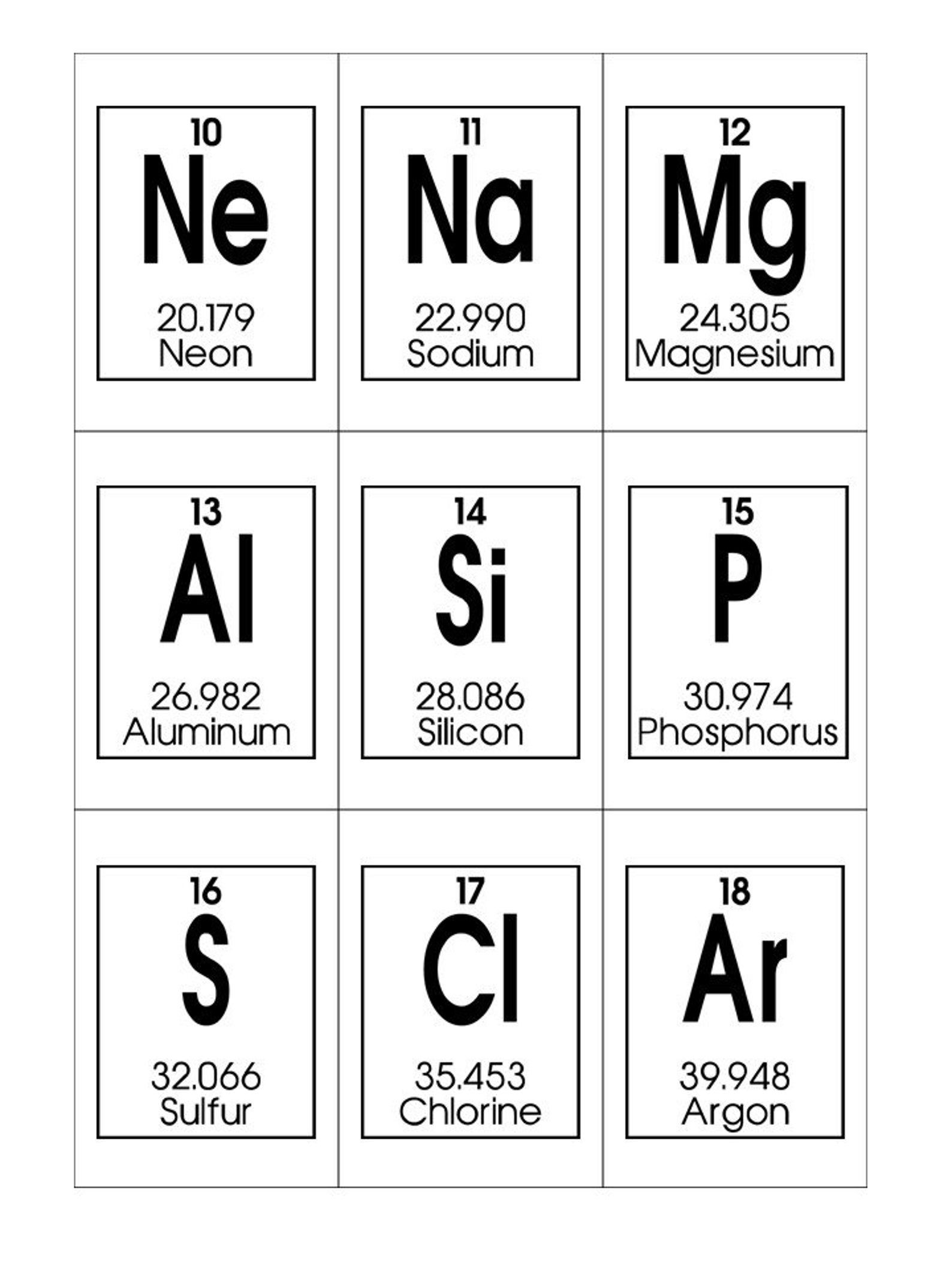 Periodic Table of Elements Printable Flashcards. Chemistry