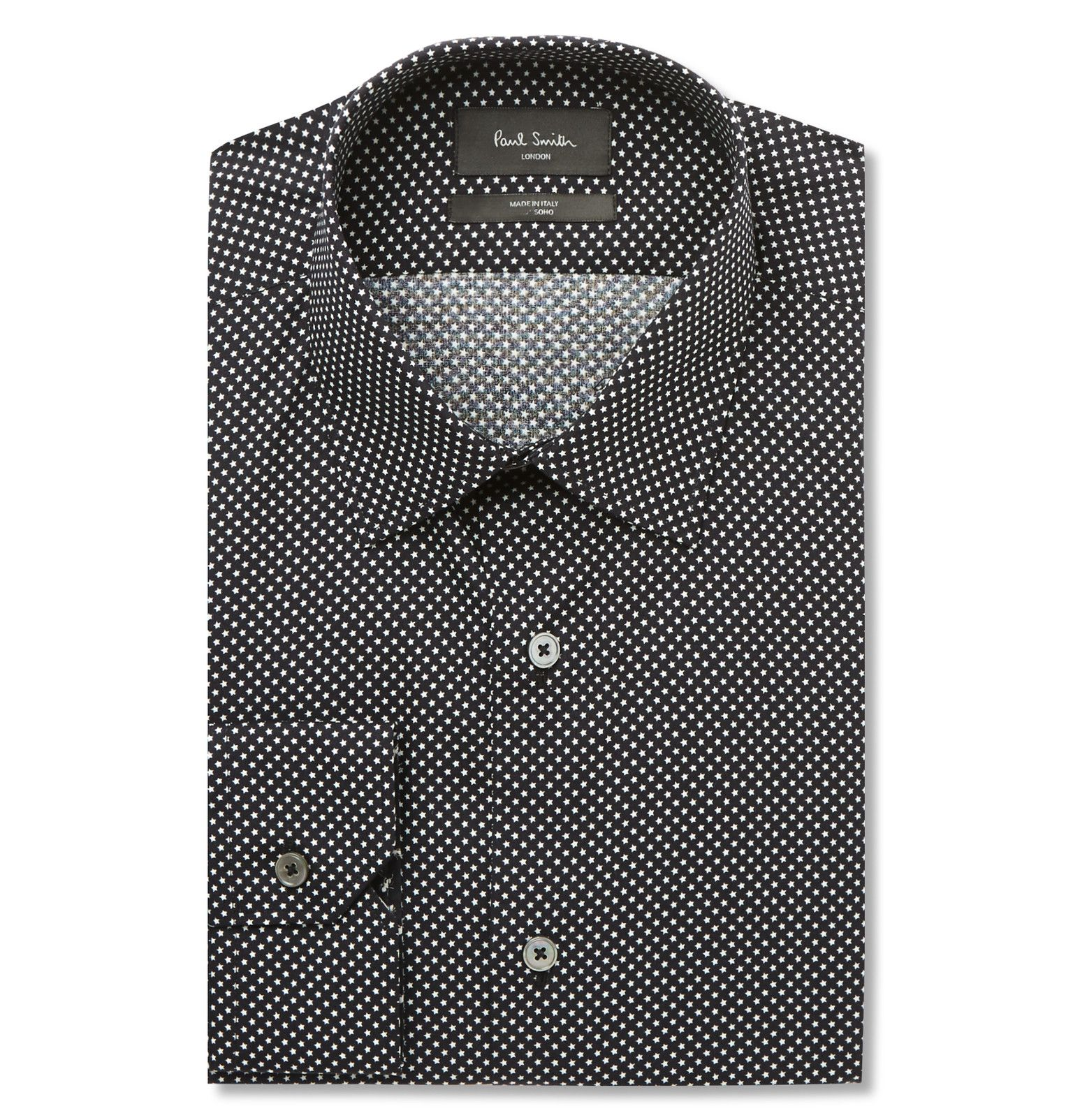 Cut in a contemporary slim fit <a href='http://www.mrporter.com/mens/Designers/Paul_Smith'>Paul Smith</a>'s 'Soho' style is the brand's shirting calling-card. Its narrow yoke and neat darts ensure a sleek profile. Part of the latest collection this updated version is detailed with a refined micro-star print that offers a welcome change to traditional white or blue solids. It will look impeccable worn with classic black suiting.
