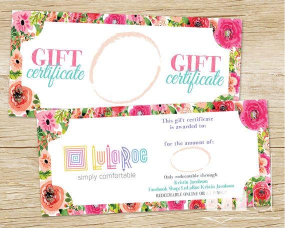 lularoe gift certificate lularoe gift card floral watercolor