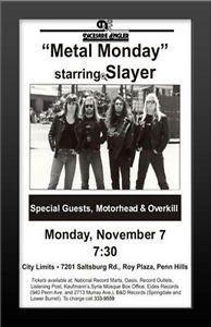 FRAMED Metal Monday Starring Slayer Concert 1988 Poster
