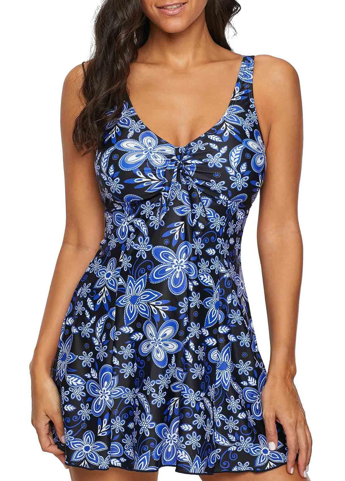 ffe59717dff95 V Neck Floral Print Swimdress and Shorts | liligal.com - USD $27.37  #liligal #swimwear #swimsuit