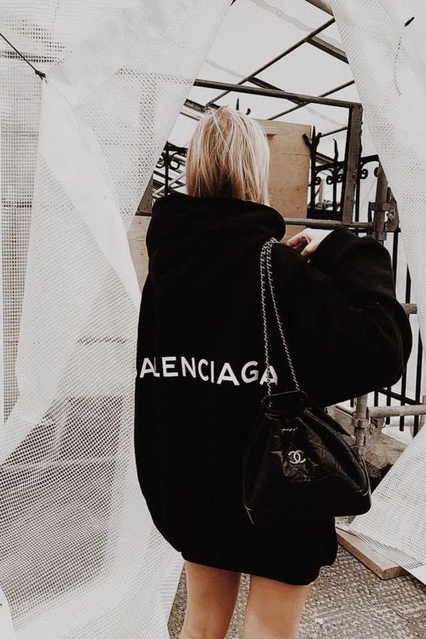 Womens Winter Fall Balenciaga Hoodie Luxury Lifestyle Expensive Wear Stylish Outfit Chanel Bag Purse Fashion Fashion Outfits Expensive Fashion [ 1309 x 873 Pixel ]