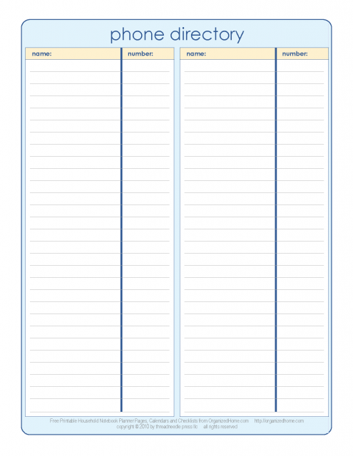 10/04/2018· a good contact list template should include all relevant details of acquaintances. Phone Directory Household Notebook Templates Printable Free Address Book Template