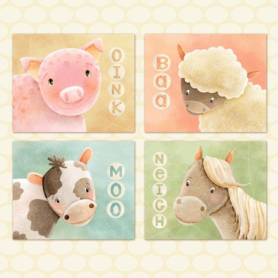 Kids Farm Animals Art Print Set Of 4 Prints By Thefoxandtheteacup