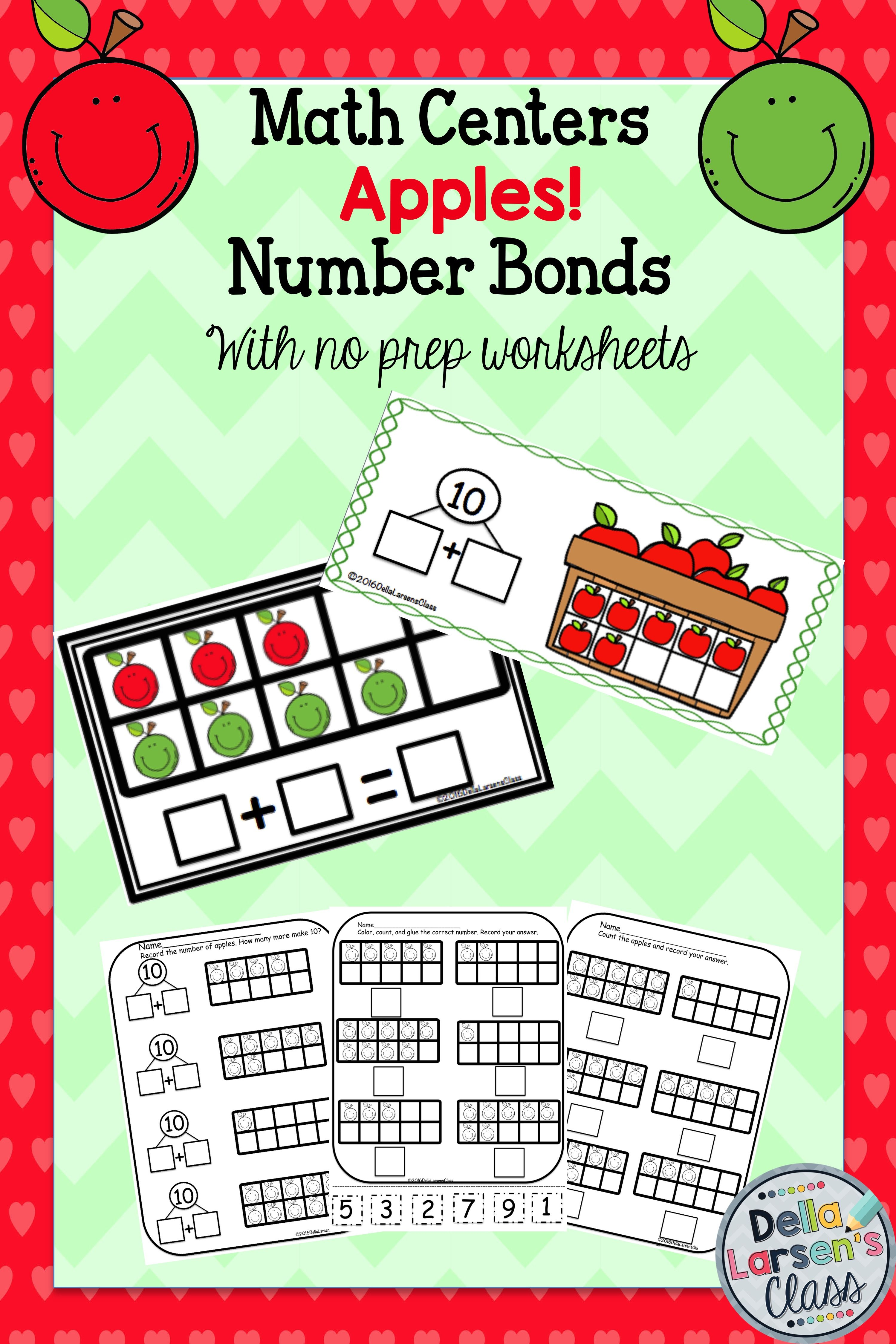 Apple Number Bond Math Center No Prep Worksheets