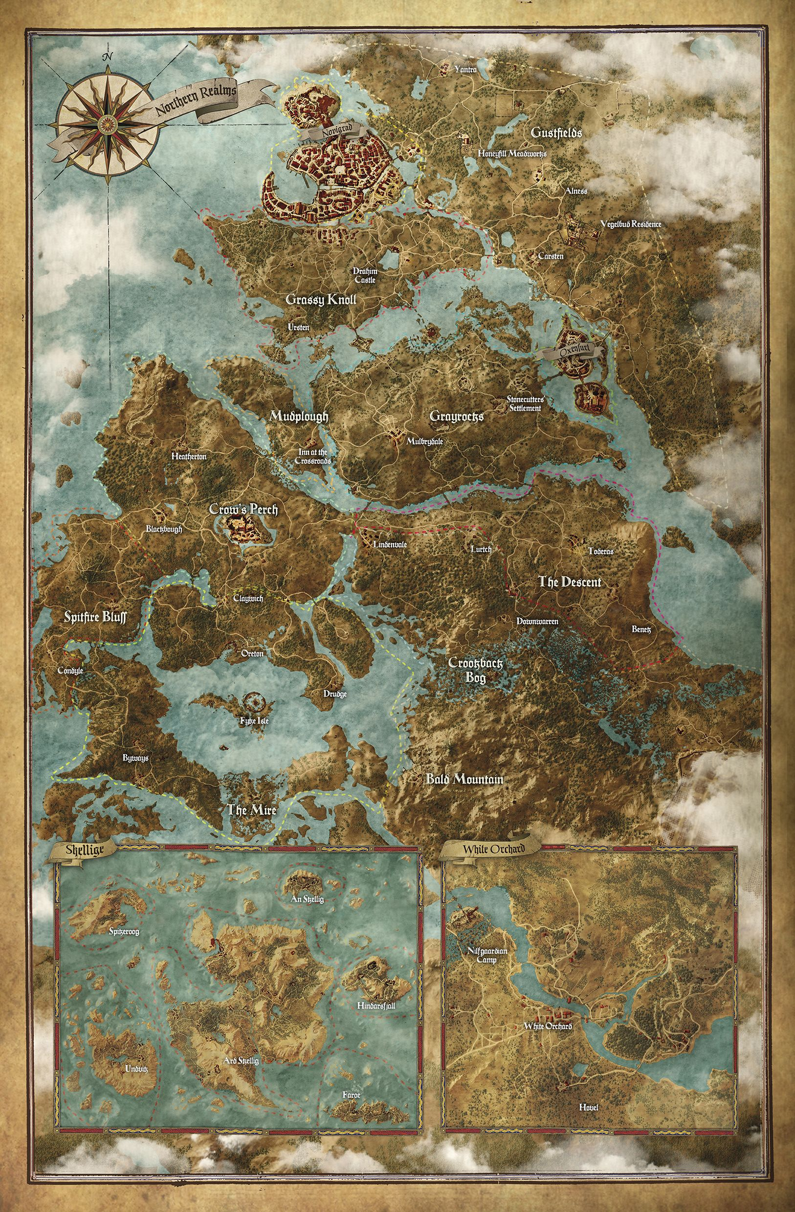 A high resolution look at The Witcher 3: Wild Hunt world map