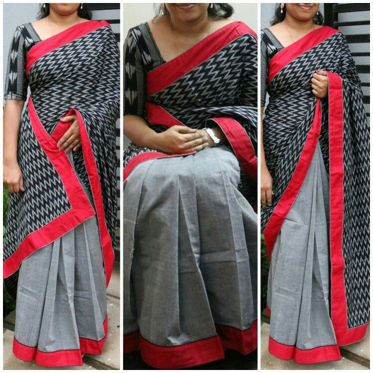 648ec67e51f8f3 Pochampally ikkat half n half cotton saree paired with red ikkat blouse For  price contact  8754464977