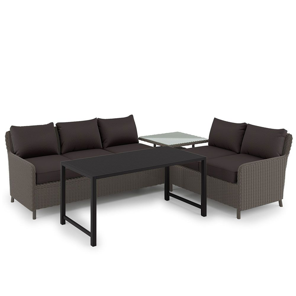 Best Buy Levera Pe Wicker Outdoor Sofa Set W Aluminum Coffee 400 x 300