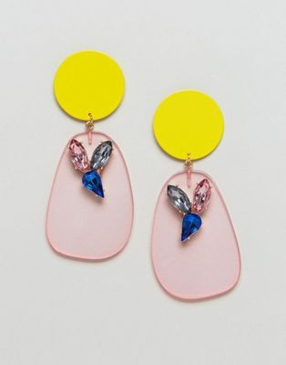 DESIGN Pastel Resin And Open Flower Drop Earrings - Multi Asos t2F2F