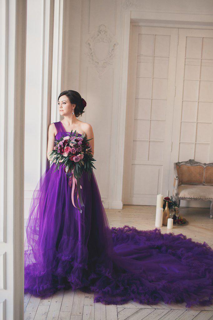 Glamorous One Shoulder Purple Tulle Prom Dress 2016 New Fashion ...