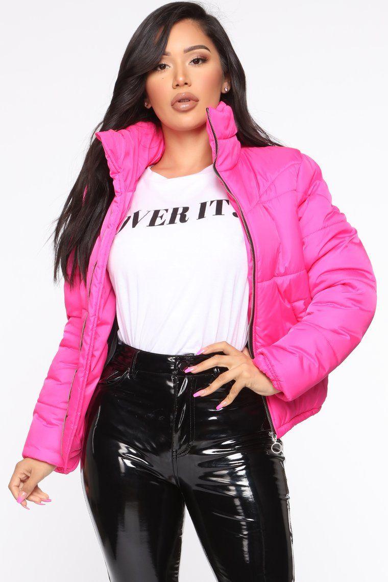 Brighten My Day Puffer Jacket Hot Pink Jacket Outfit Women Pink Jacket Outfit Puffer Jacket Outfit [ 1140 x 760 Pixel ]