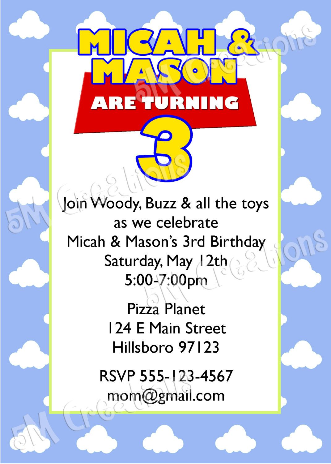 Toy Story Birthday Party Printable Invitation - Toy Story Party ...