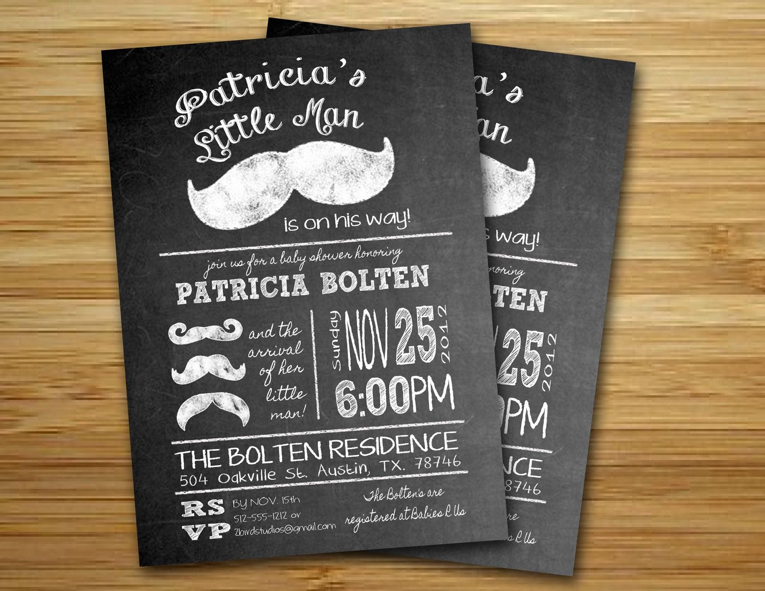 Baby shower invitation - Little man mustache baby shower invite- DIY ...