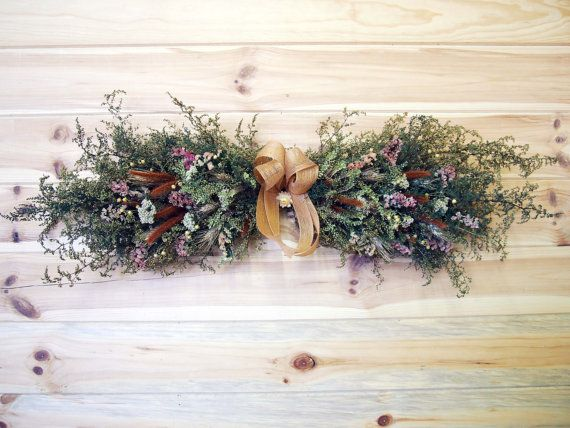 Rustic Country Dried Flower Swag Open Farmhouse Wall Decor Etsy Dried Flowers Floral Swag Dried Flower Arrangements