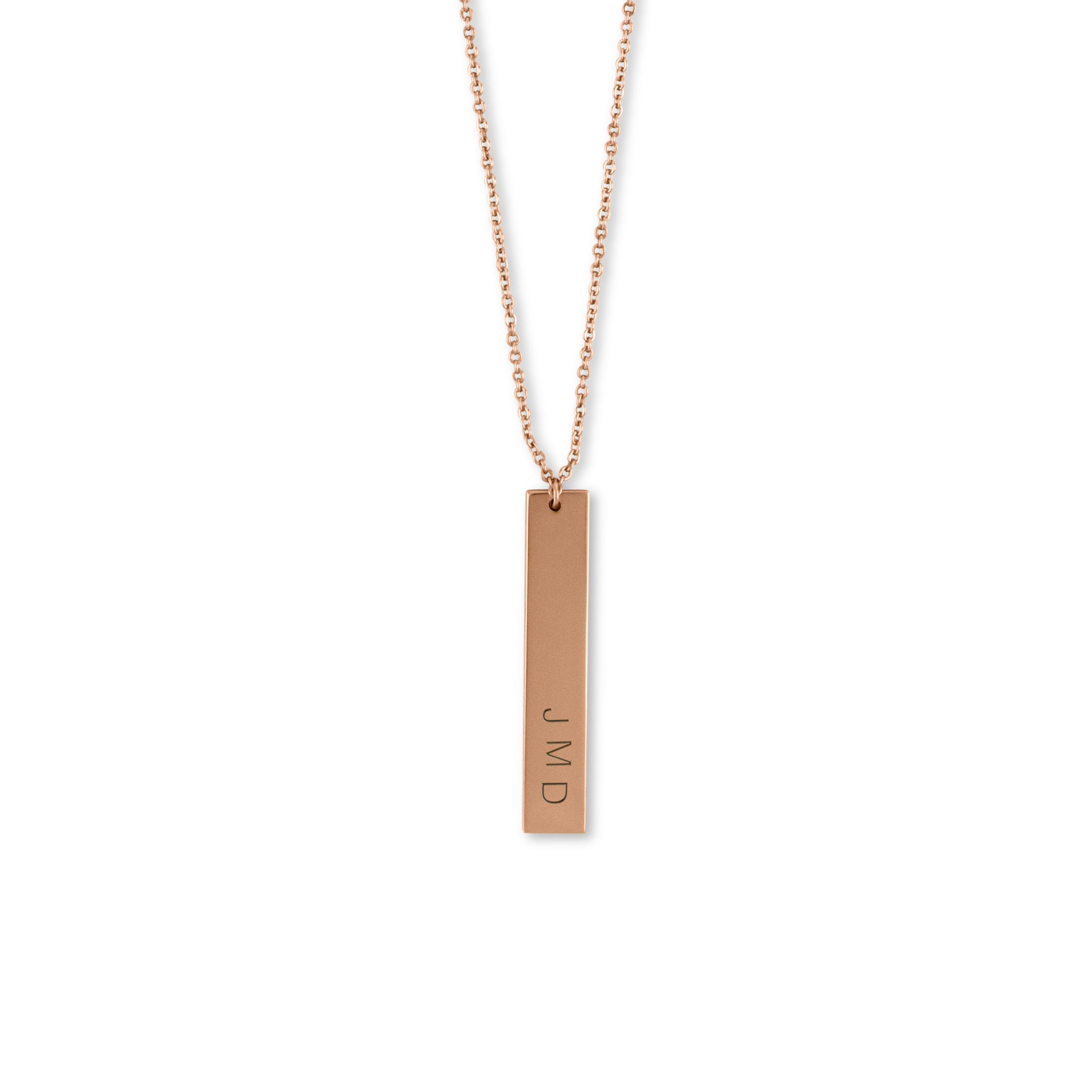 Vertical rectangle tag necklace rose gold gold initials and