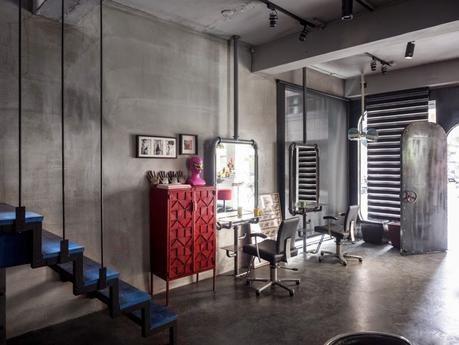 Resultado de imagen de dise o de peluqueria tipo for Cortinas estilo industrial
