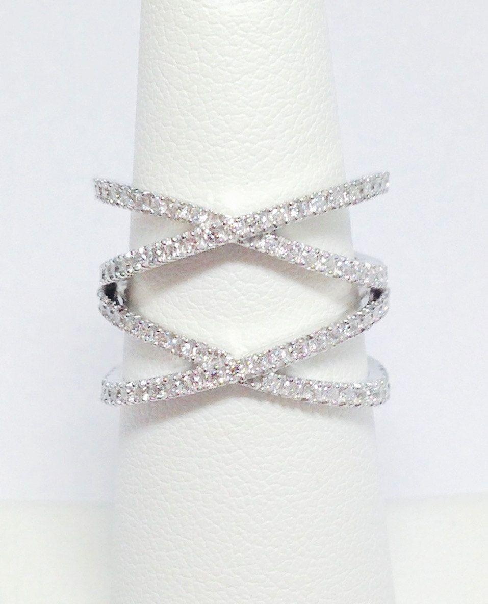 1.00CT Diamond Band Criss Cross Double X Ring Anniversary
