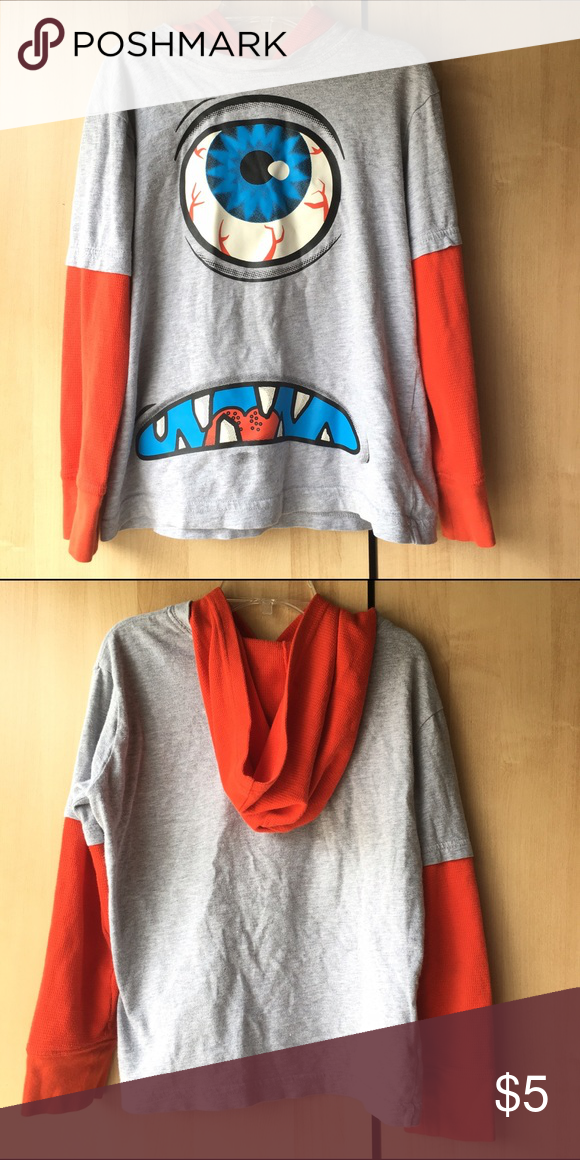 Boy's long sleeve monster shirt -long sleeve hoodie shirt -used -good condition Crazy 8 Tops Tees - Long Sleeve