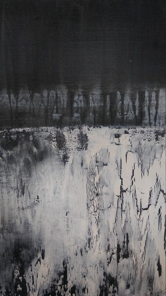 Minimalist Texture Painting Black White by AmyNealArtStudio