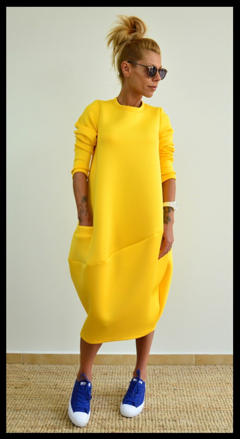 5fb6d57a997 Yellow loose tunic   Oversize neoprene dress   Maxi long tunic   Long  sleeves yellow top by ClothesByLockerRoom on Etsy