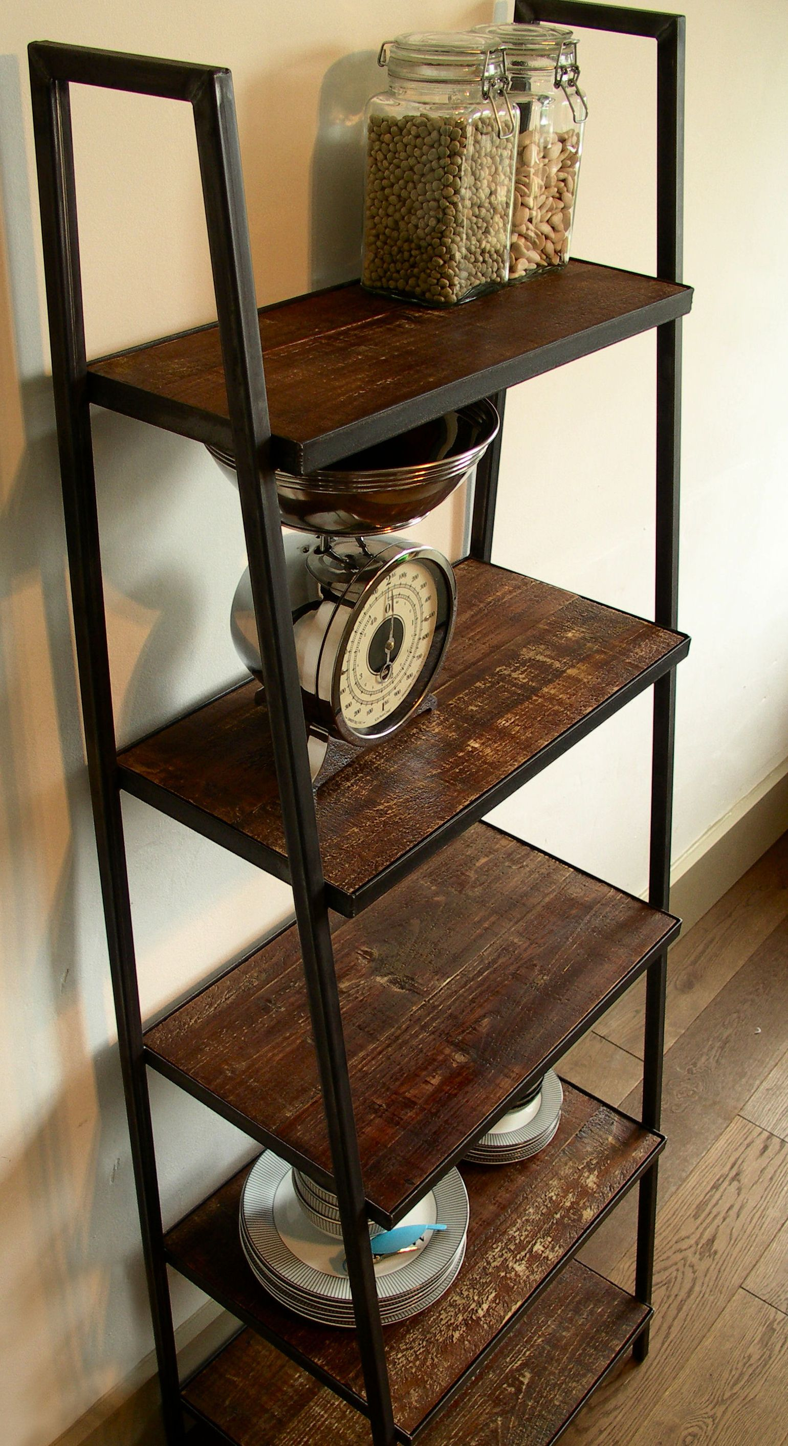 Ladder Shelving Unit With Distressed Timber #shelving #industrial #storage