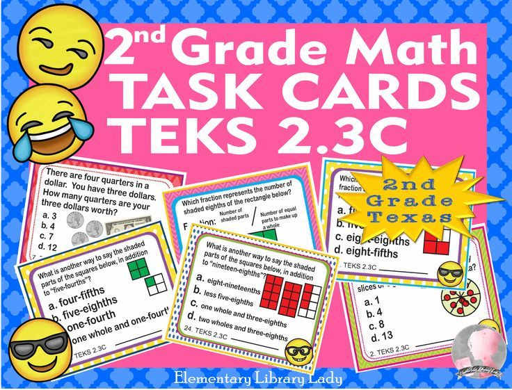 Math TEKS 2.3C Texas 2nd Grade Task Cards Fractions Beyond