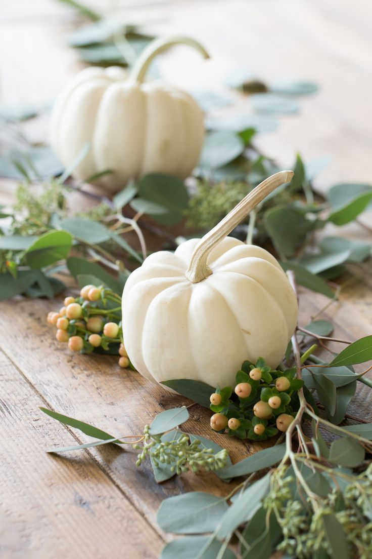 White Pumpkins Centerpiece Fall Table Centerpieces Fall Dining Table Fall Table Settings