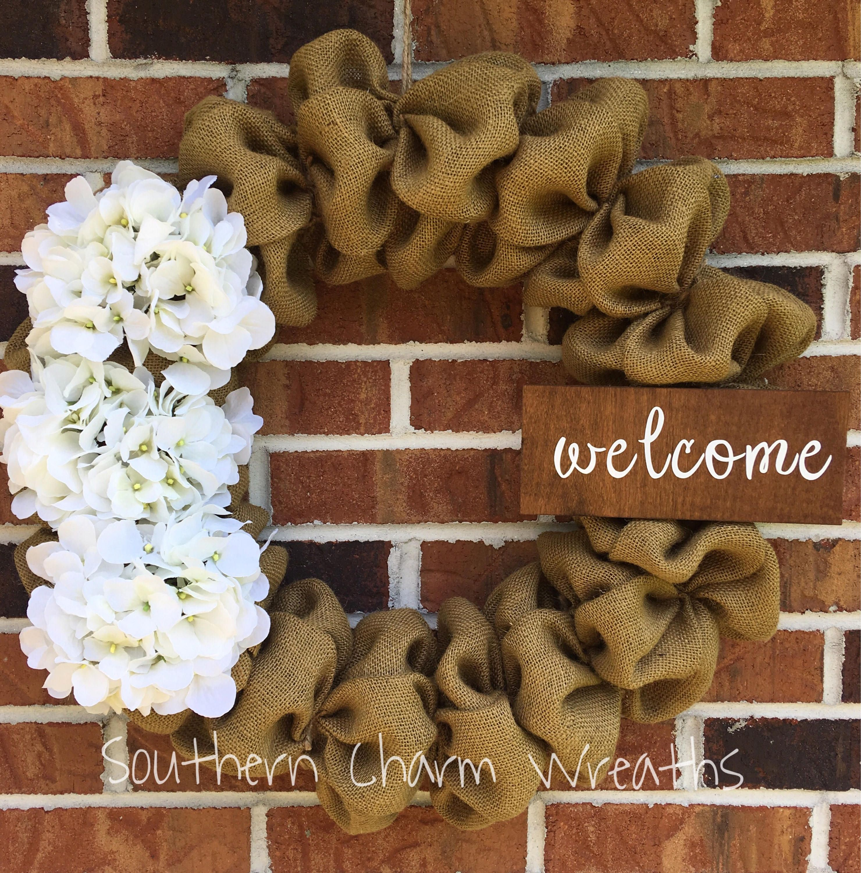"""Camel Burlap with White Hydrangeas """"welcome"""" Wreath by southcharmwreaths on Etsy"""