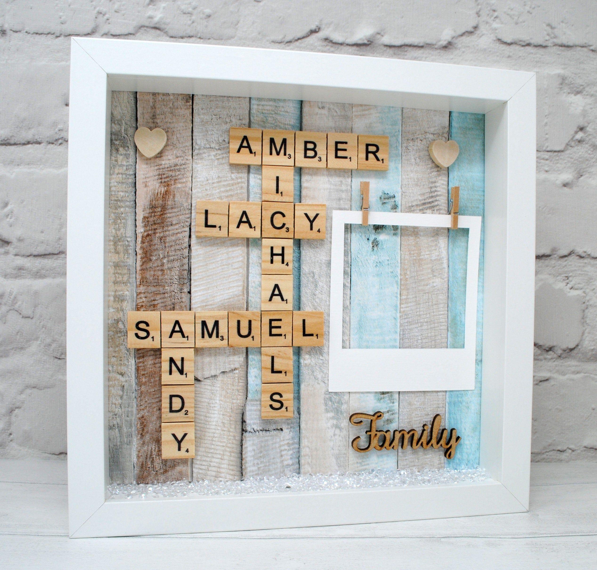 Personalised Family Names Photo Frame Wooden Scrabble Tile Wall Art Family Gift Birthday Gift M Scrabble Wall Art Scrabble Tile Wall Art Scrabble Art Frame