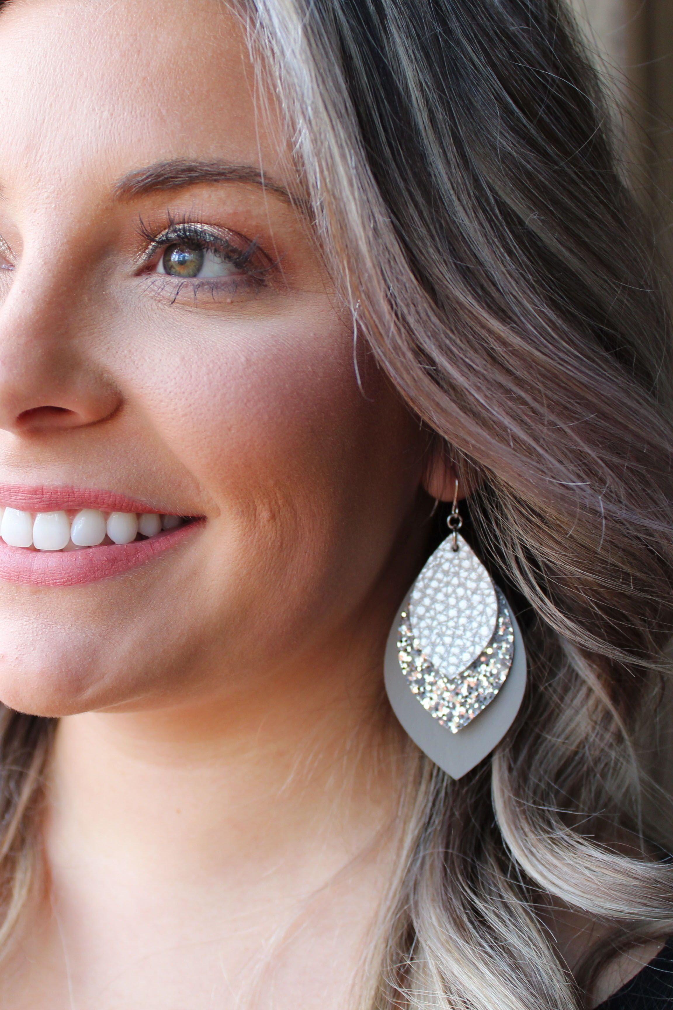 Photo of Silver, Silver Glitter & Grey Layered Earrings