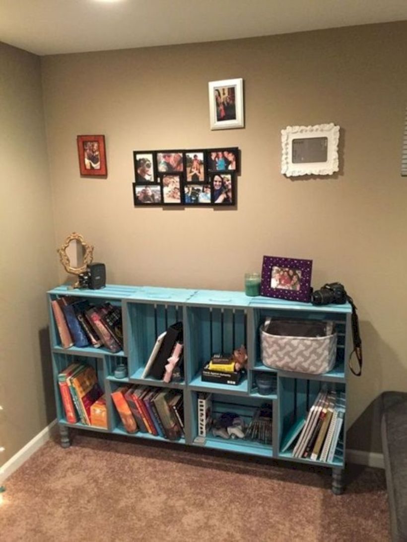 52 Simple Bookshelf Design Ideas That Are Popular Today Crate Furniture Crate Bookshelf Wooden Crate Shelves