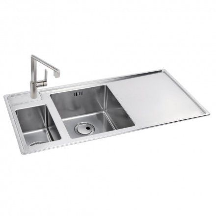 Abode Theorem 1 5 Bowl Offset Drainer Stainless Steel Sink Right