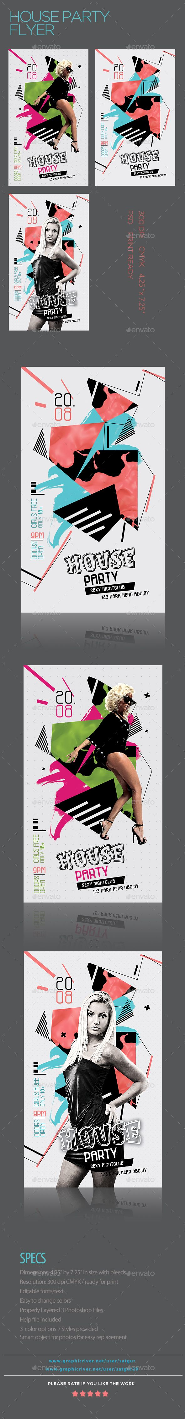 House Party Flyer | Party flyer, Flyer template and Template