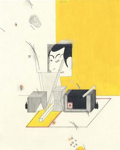 Yuri Masnyj Yellow Room 2003 graphite, ball point pen and colored pencil on paper 10 1/2 x 8 inches MP# D-87
