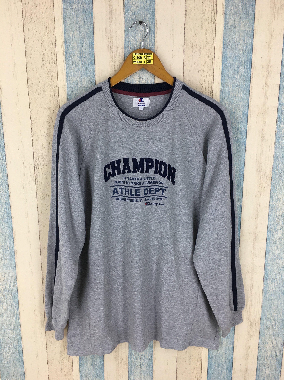 fe2f1d26bf01 CHAMPION Sweaters Unisex Large Gray Vintage 1990 s Sportswear Champion  Athle Dept Usa Crewneck Pullover Jumper Sweatshirt Size L