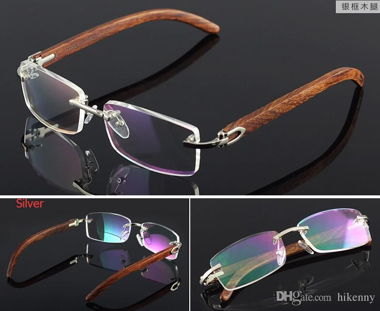 641b2746c71 wooden feet mens rimless eyeglass frames High-end business optical frame  men eyeglasses gold silver