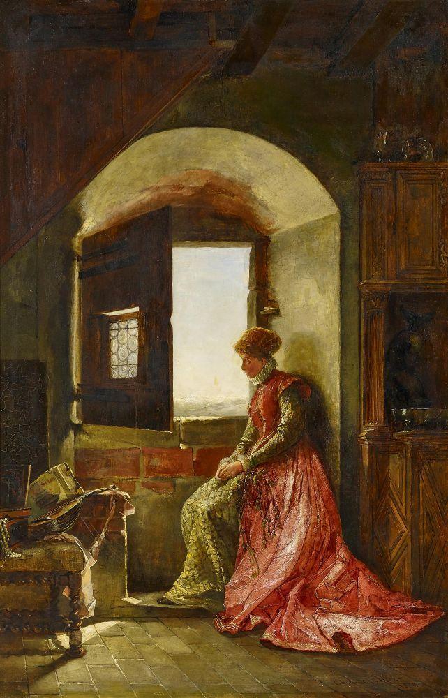 WEEKS, CHARLOTTE war tätig in London 2.H.19.Jh. Die Sinnende. Junge Frau in historisierendem (Rena