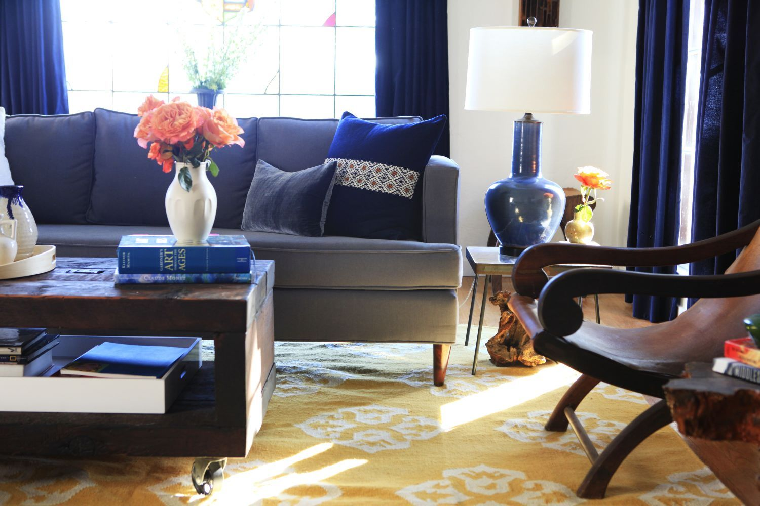 Navy blue curtains living room - Andalusian Rug From West Elm Via Emily Henderson Photo By Laure Joliet Navy Blue