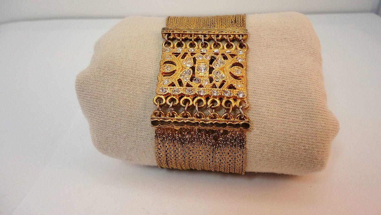 80s Goldtone /Rhinestones  VCLM wide bracelet Statement vintage by LoukiesWorld on Etsy