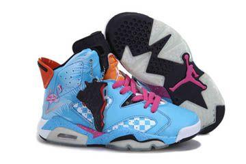 finest selection d015e 5ae87 Womens Jordans Retro 6 Blue Pink Orange