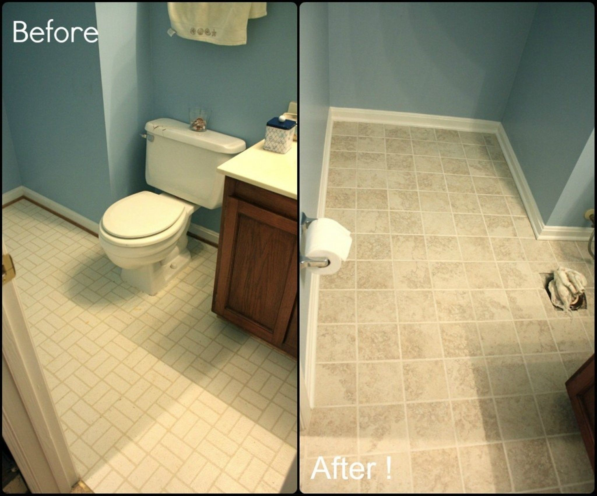 Painting bathroom floor tile before and after bathroom ideas painting bathroom floor tile before and after dailygadgetfo Images