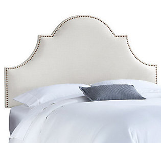 King High Arch Notched Linen Nail Button Upholstered Headboard