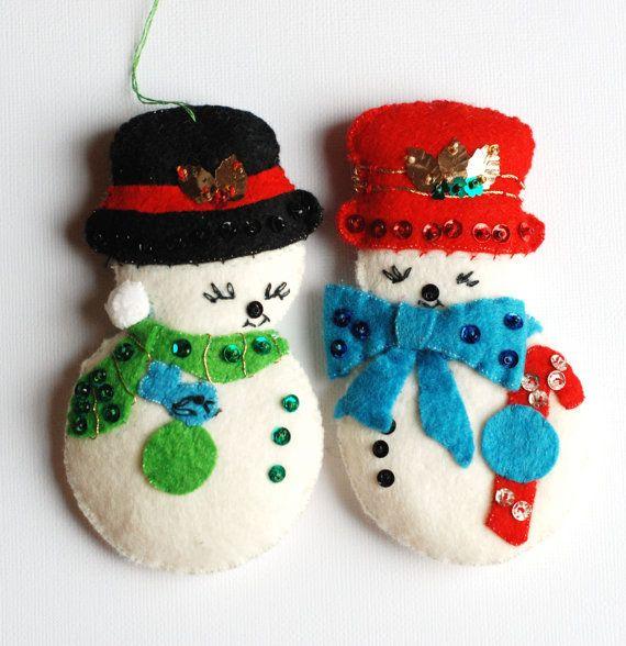 Vintage Felt Christmas Ornaments Snowman Vintage Felt Ornaments With Sequins By Rswvintage On Felt Christmas Ornaments Felt Ornaments Felt Ornaments Patterns